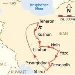 Karte Reiseroute Iran