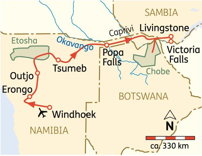 Namibia - Karte Reiseverlauf